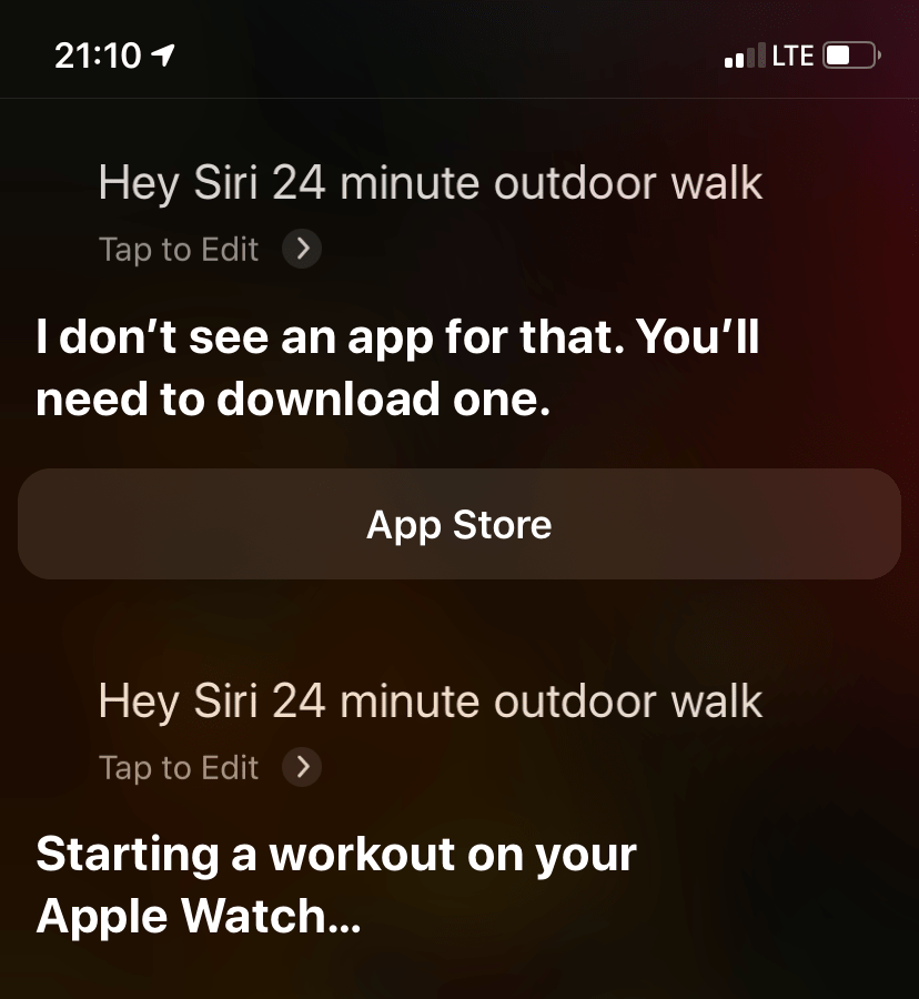 Siri outdoor workout inconsistency
