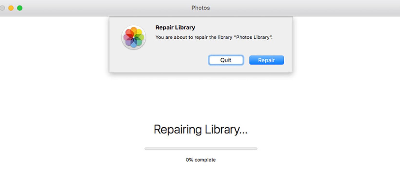 Repair Photos Library on Mac